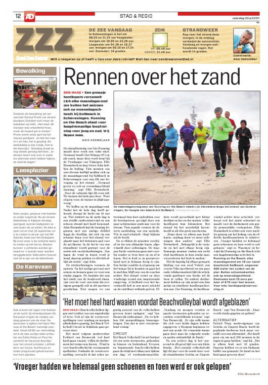Zier Running on the Beach in de media! Artikel AD Haagsche Courant 23 juli 2011